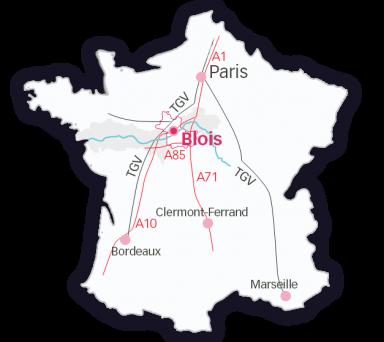 Carte du Loir-et-Cher en Val de Loire
