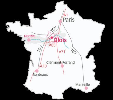 Carte du Loir-et-Cher en Val de Loire - Nantes Pays de la Loire