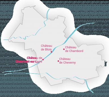 Carte des grands châteaux de la Loire de Loir-et-Cher