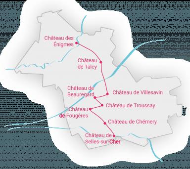 Carte des petits châteaux de la Loire de Loir-et-Cher