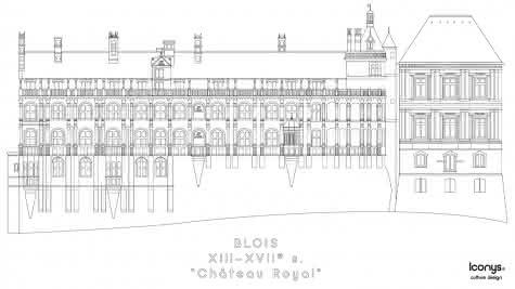 Iconys - Coloriage du château royal de Blois - Vacances famille en Loir-et-Cher