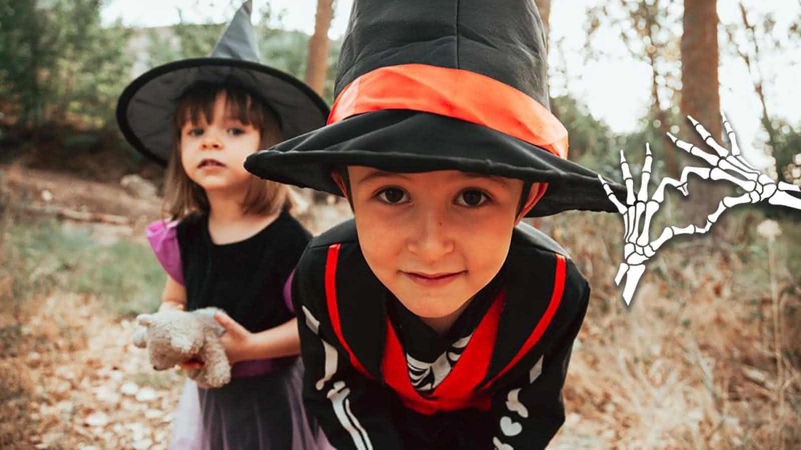 Halloween en Val de Loire - Loir-et-Cher ©Brother and sister in skeleton and witch costumes by Manu Reyes from NounProject.com